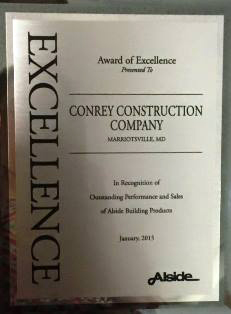 Award Excellence Conrey Construction MD
